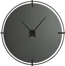 Smoked glass and black metal clock D95cm