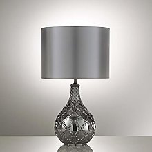 Smokey Silver Grey Table Lamp with Glass Including