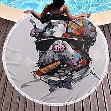 Smoking Dog With Sunglasses Printed Round Beach