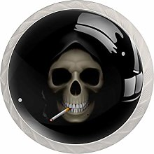 Smoking Skull Round Cabinet Knobs 4pcs Knobs for
