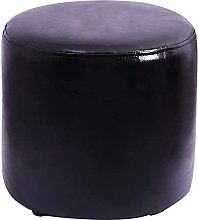 SMTAO Concise Round Faux Leather Footstool Adult