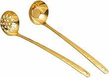 SMX Creative 2 Pieces Gold Metal Soup Ladle