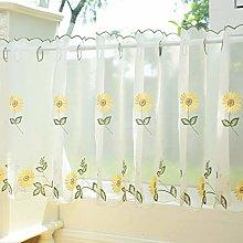SMYH Café Voile Curtain Panel,Yellow Sunflower