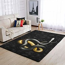 Snake Black Yellow Area Rug Patterned Puffy