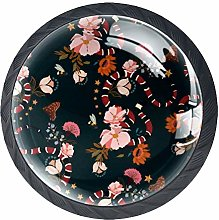 Snake with Flowers Dresser Crystal Knobs - Glass