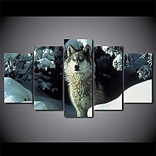 Snow Wolf5 Panel Wall Art Paintings On Canvas Wall