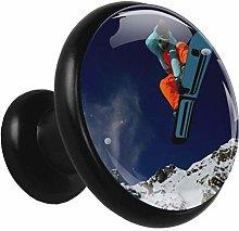 Snowboarding Mountain Snow 4 Piece Kitchen Black
