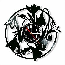 Snowdrops and Ladybirds Vinyl Record Wall Clock