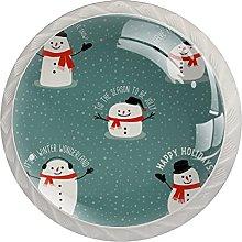 Snowman 4 Pieces Round Cabinet Knobs with Screws