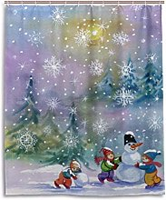 Snowman and Child Shower Curtain, Waterproof and