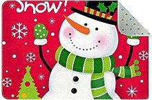 Snowman Door Mat, Machine Washable Soft Doormat