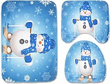 Snowman Toilet Seat Cover and Rug Set for Bathroom
