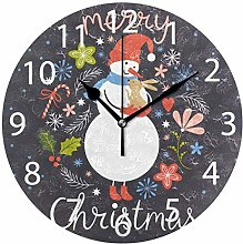 Snowman with Little RabChristmas Round Wall Clock,