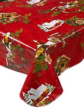 Snowy Christmas Scene Red PVC Tablecloth Flannel