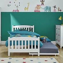 Snowy Single Bed Frame with Trundle - White