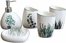 Soap dispenser White Ceramics and Green Plant