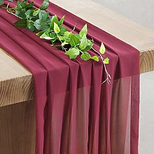 SoarDream Burgundy Sheer Table Runner 27x120