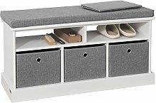 SoBuy® FSR67-HG, 3 Baskets Hallway Storage Bench,