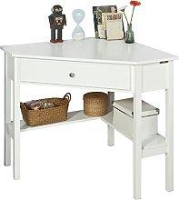 SoBuy FWT31-W, White Corner Desk, Triangle Table