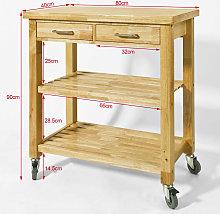 SoBuy Rubber Wood Kitchen Storage Trolley Cart