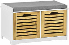 SoBuy Shoe Cabinet Storage Bench with 2 Drawers &