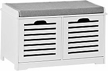 SoBuy® White Storage Bench with 2 Drawers &