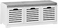 SoBuy® White Storage Bench with 3 Drawers &