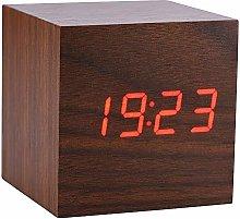 Socobeta 6x6x6cm Alarm Clock Wooden Digital Alarm