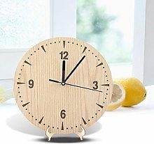 Socobeta Vintage Round Wood Table Desk Clock Wood