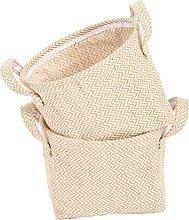 SOCOHOME Cotton Linen Storage Baskets, Natural