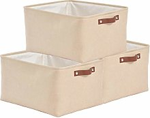SOCOHOME Set of 3 Storage Boxes - Canvas Fabric