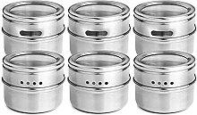SODIAL 6pcs / set Clear Lid Magnetic Spice Jar