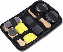 SODIAL Portable Shoe Care Kit (Black & Neutral