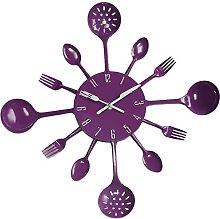 SODIAL(R) Housewares Cutlery Wall Clock - Purple