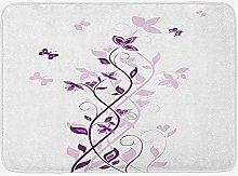 Soefipok Purple Bath Mat, Violet Tree Swirling