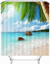 SOEKAVIA Beach Pattern Shower Curtain Waterproof