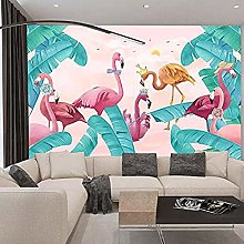 Sofa Background Wall Paper Pink Flamingo Wallpaper