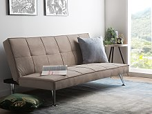 Sofa Bed Beige 3-Seater Quilted Upholstery Click
