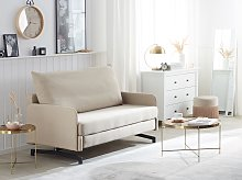 Sofa Bed Beige Fabric 2 Seater Modern Living Room