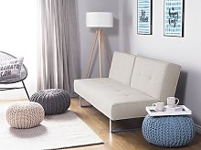 Sofa Bed Beige Fabric Upholstery 3 Seater