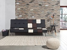 Sofa Bed Black and Brown 3-Seater Faux Leather