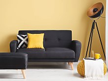 Sofa Bed Black Fabric Upholstered 2 Seater