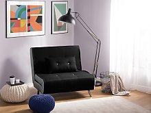 Sofa Bed Black Fabric Upholstery Single Sleeper