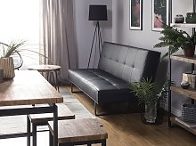Sofa Bed Black Faux Leather Modern Living Room