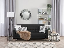 Sofa Bed Black Faux Leather Tufted Modern Living