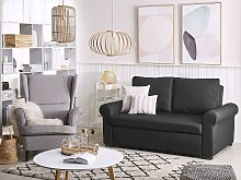 Sofa Bed Black Polyester Fabric 2 Seater Pull-Out