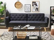 Sofa Bed Black Velvet Upholstered Convertible