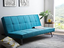 Sofa Bed Blue 3-Seater Quilted Upholstery Click