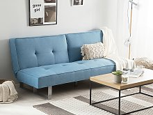 Sofa Bed Blue Fabric Upholstery 3 Seater Reclining