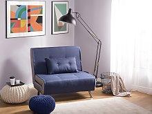 Sofa Bed Blue Fabric Upholstery Single Sleeper
